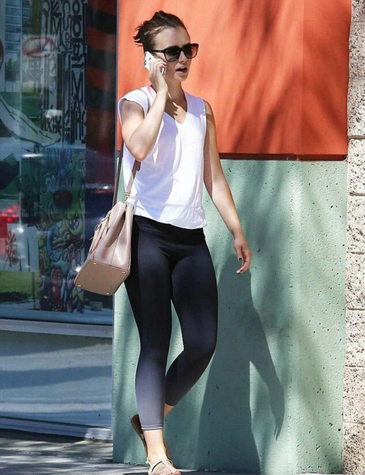 Lily Collins in Tights Going to a Gym in LA