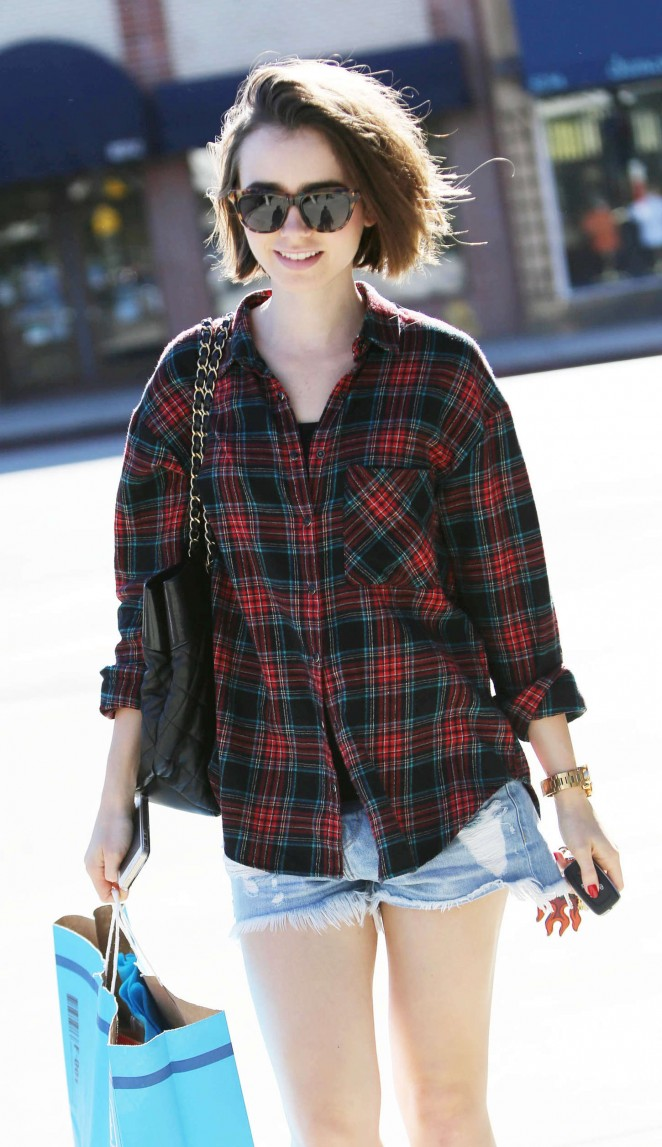 Lily Collins in Denim Shorts Out in LA
