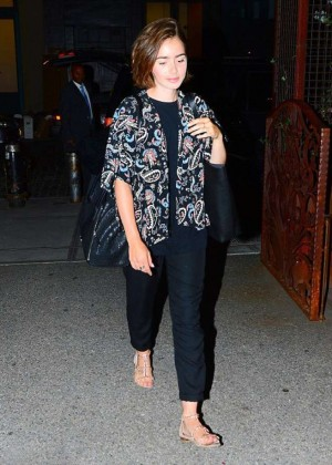 Lily Collins Leaving a Hotel in New York City