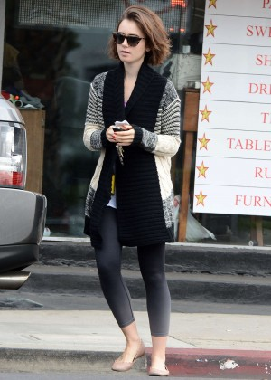 Lily Collins in Leggings Leaving Dry Cleaning in LA