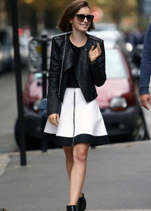 Lily Collins - Leaving Givenchy Store in Paris