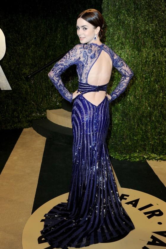 Lily Collins – Oscar 2013 – Vanity Fair Party -01