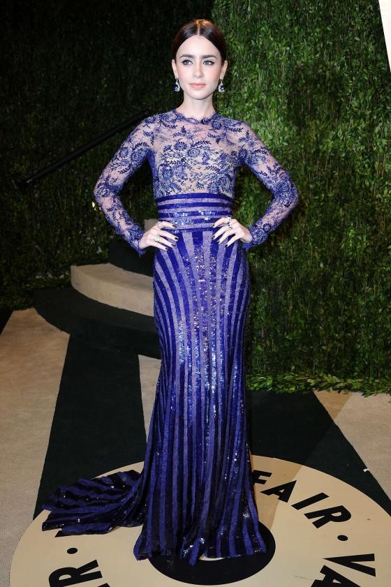 Lily Collins – Oscar 2013 – Vanity Fair Party -03