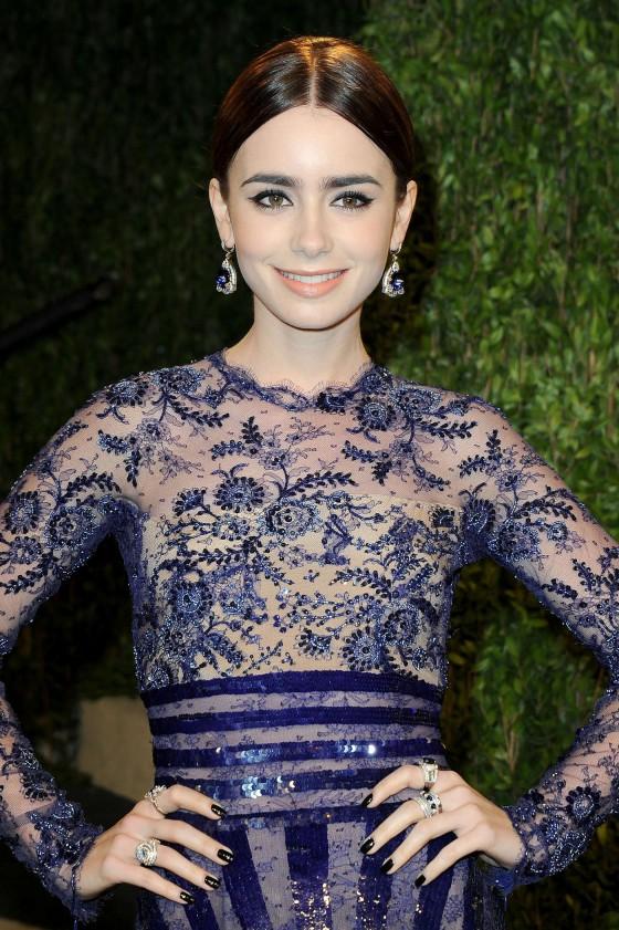 Lily Collins – Oscar 2013 – Vanity Fair Party -04