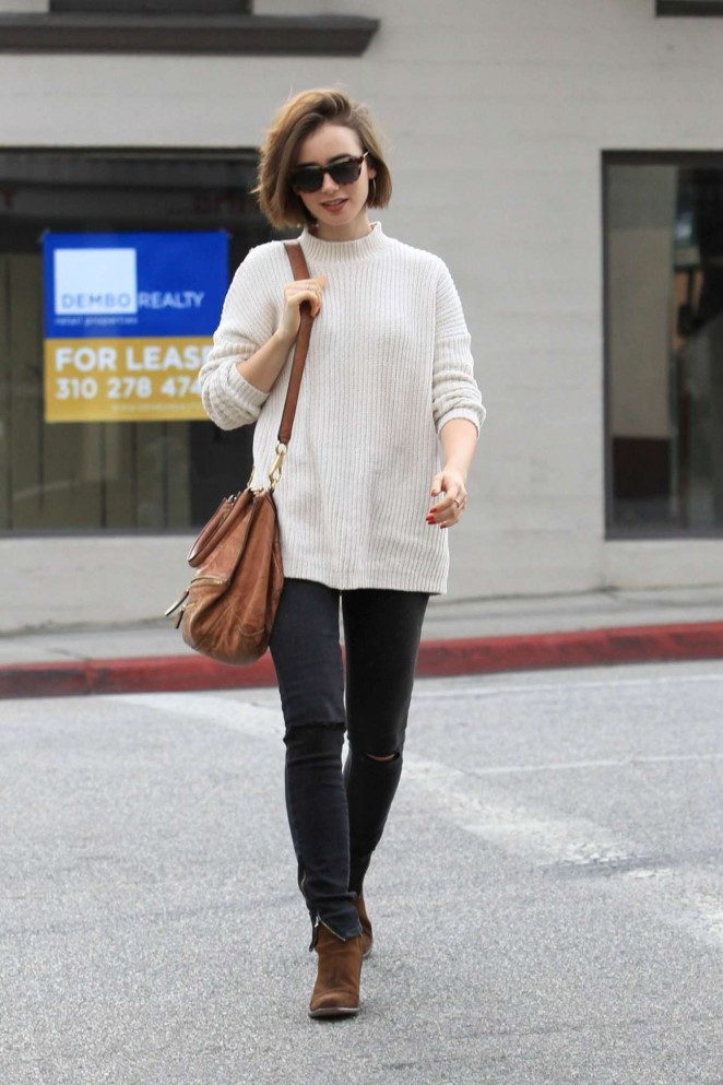 lily collins street style out and about in beverly hills