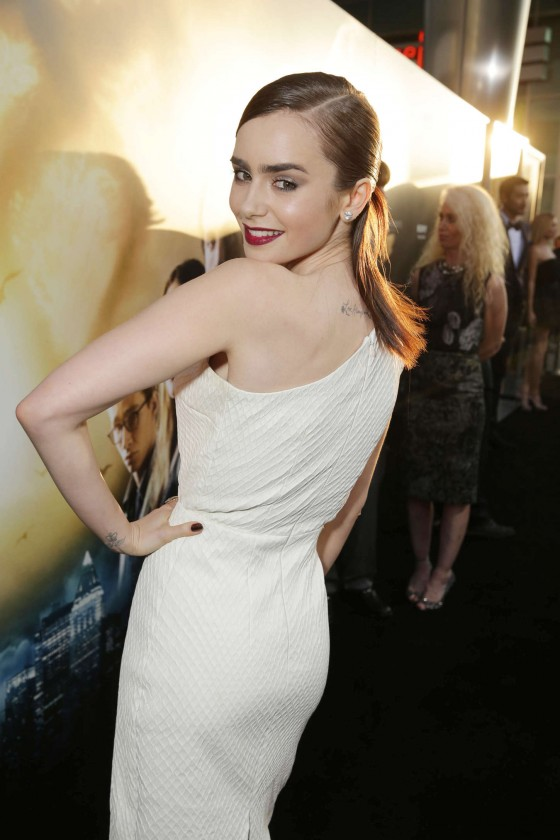 Lily Collins – The Mortal Instruments City Of Bones premiere -02