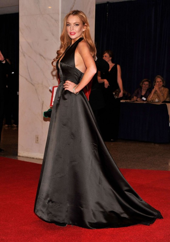 Lindsay Lohan In a long black dress at 2012 White House Correspondents' Association Dinner