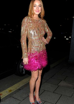 Lindsay Lohan - Arriving at the Chopard Party at Annabel's Club in Mayfair