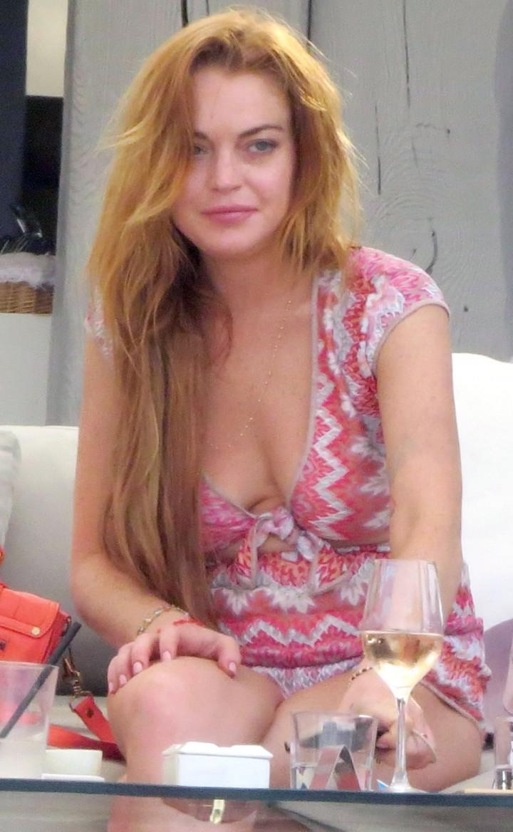 Lindsay Lohan at a beach club in Ibiza -07