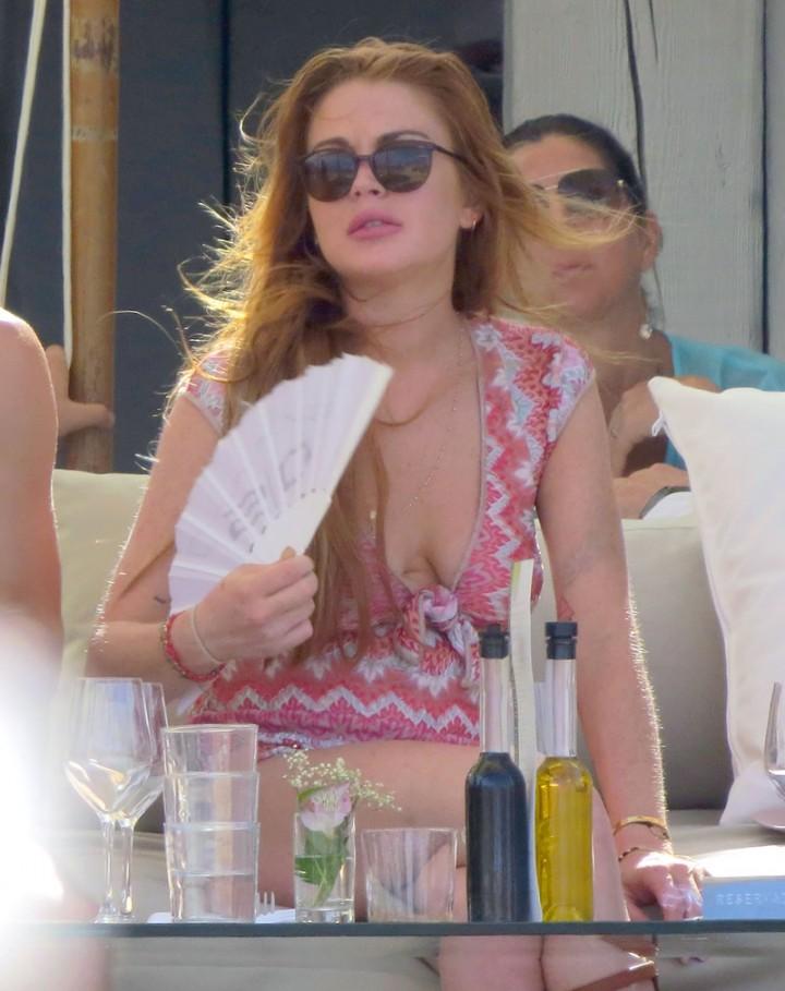 Lindsay Lohan at a beach club in Ibiza -12