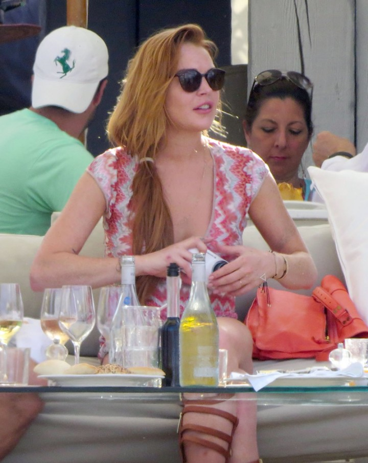 Lindsay Lohan at a beach club in Ibiza -14