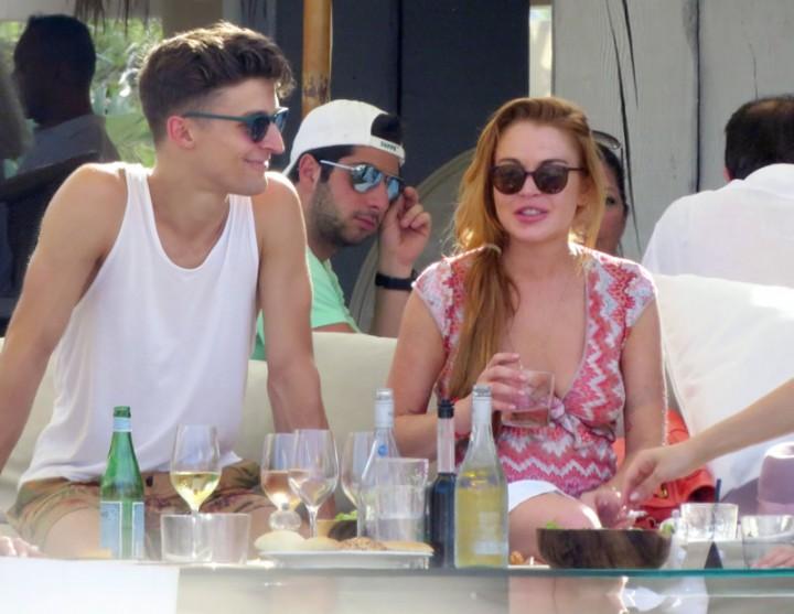 Lindsay Lohan at a beach club in Ibiza -17
