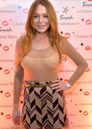 Lindsay Lohan - Backstage Beauty Booth Launch in London