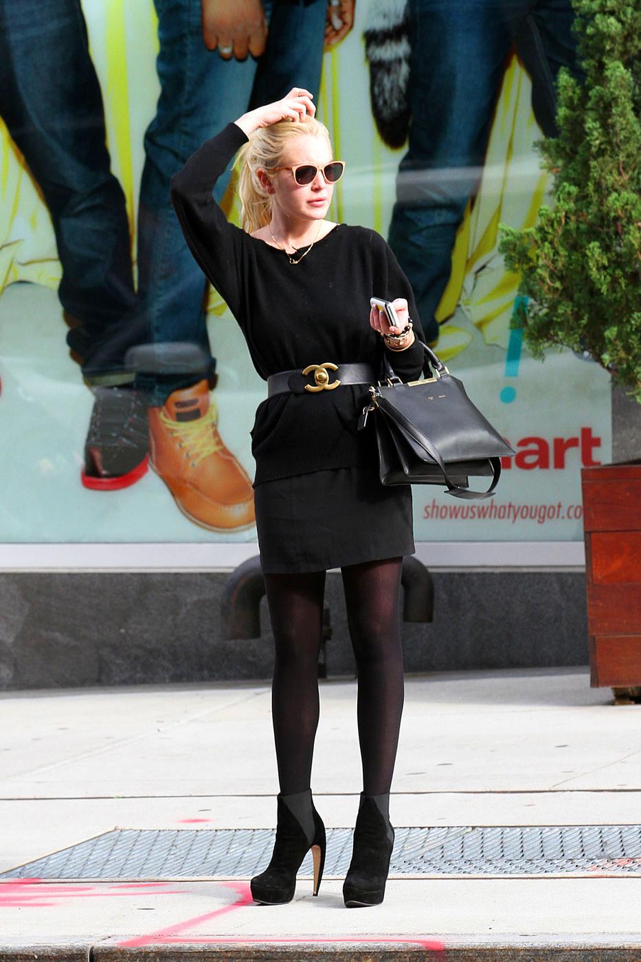Lindsay Lohan Black Tight Dress Candids 07 Gotceleb