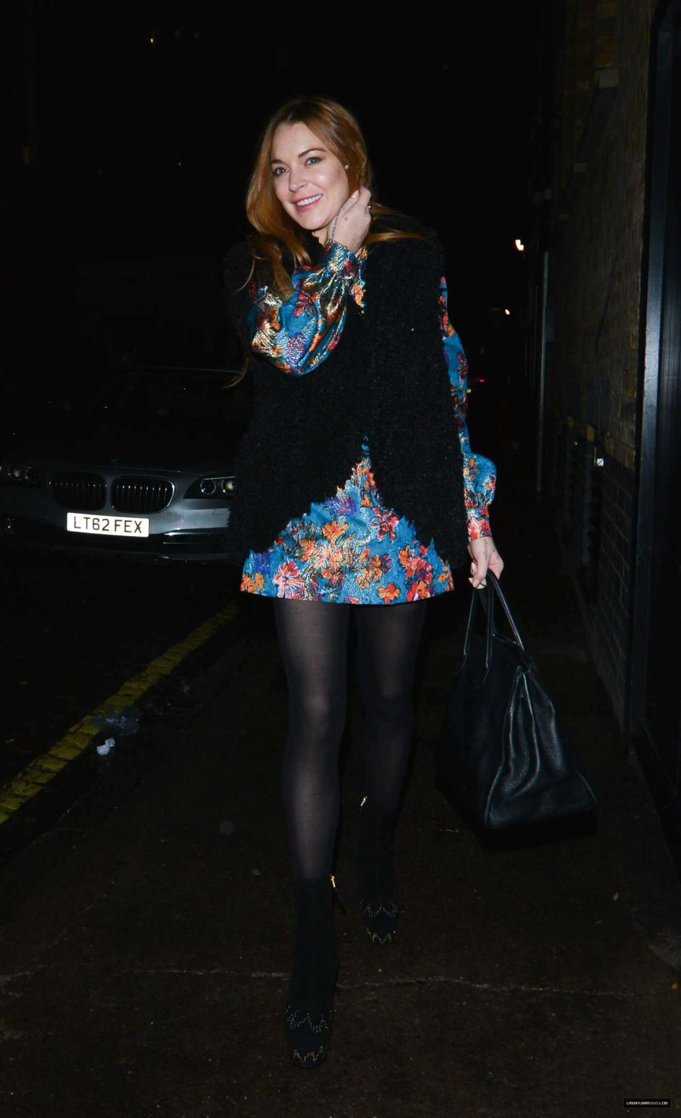 Lindsay Lohan 2014 : Lindsay Lohan in Mini Dress Leaves the Chiltern Firehouse -02