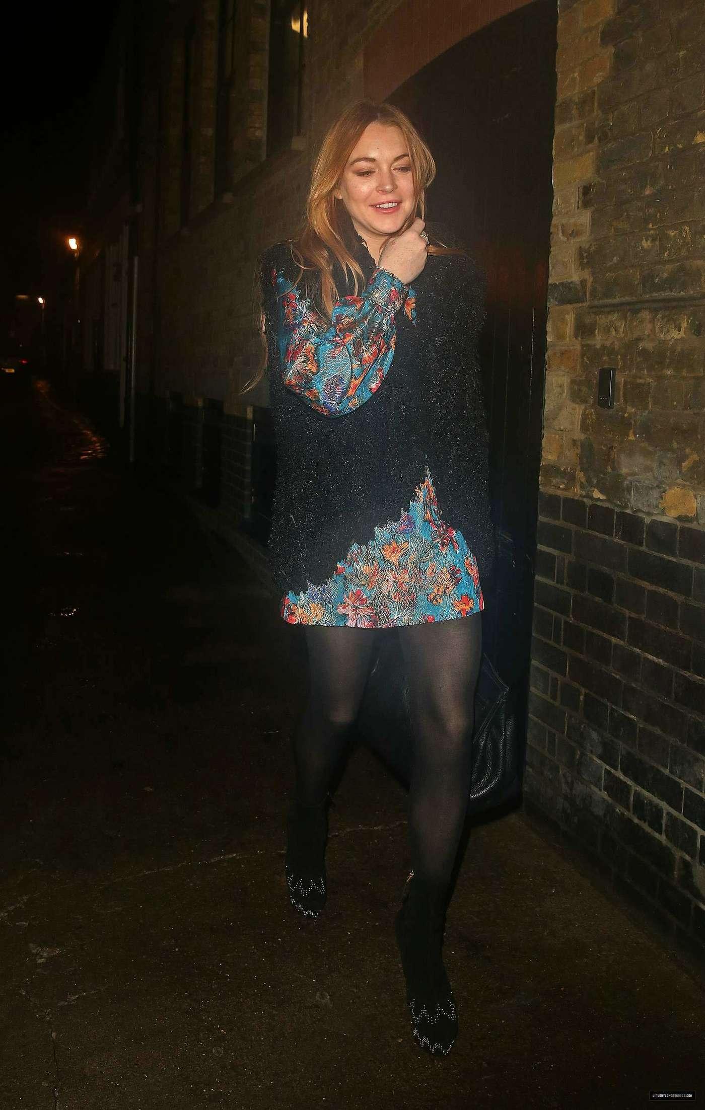 Lindsay Lohan 2014 : Lindsay Lohan in Mini Dress Leaves the Chiltern Firehouse -06