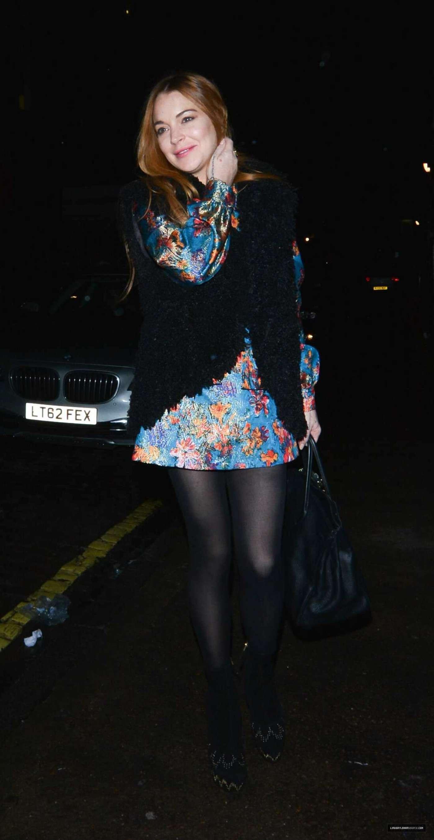 Lindsay Lohan 2014 : Lindsay Lohan in Mini Dress Leaves the Chiltern Firehouse -08