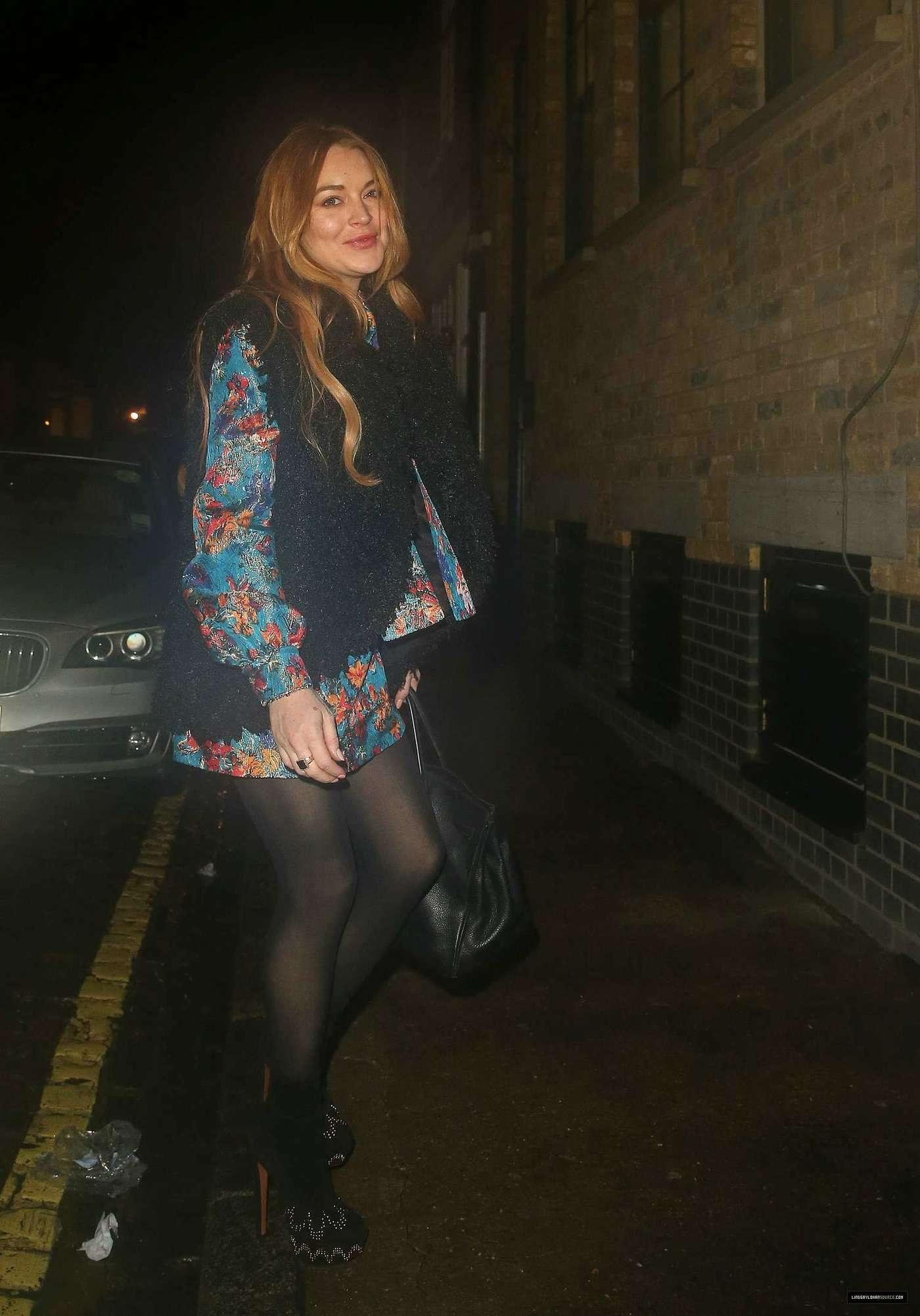 Lindsay Lohan 2014 : Lindsay Lohan in Mini Dress Leaves the Chiltern Firehouse -09