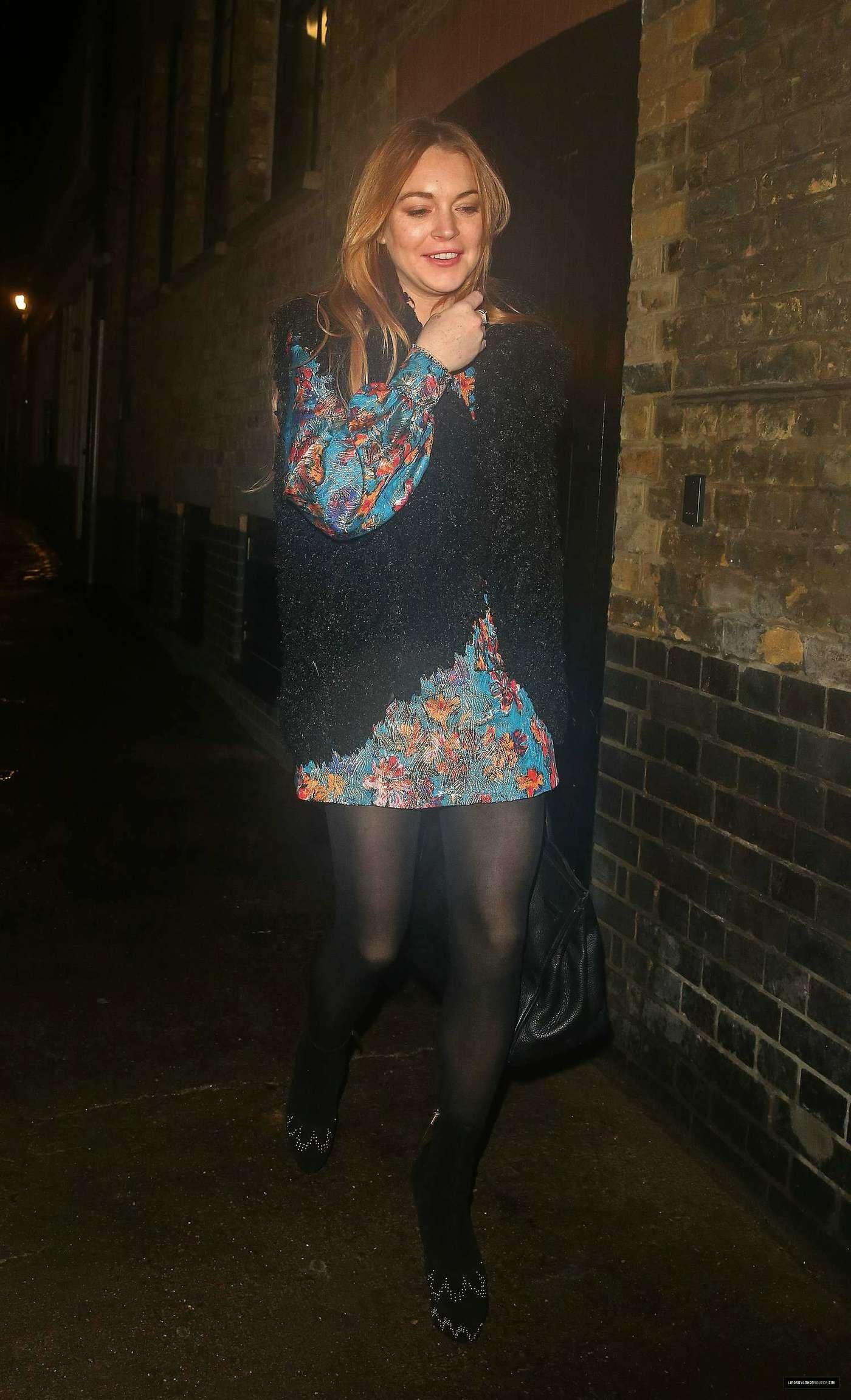 Lindsay Lohan 2014 : Lindsay Lohan in Mini Dress Leaves the Chiltern Firehouse -11