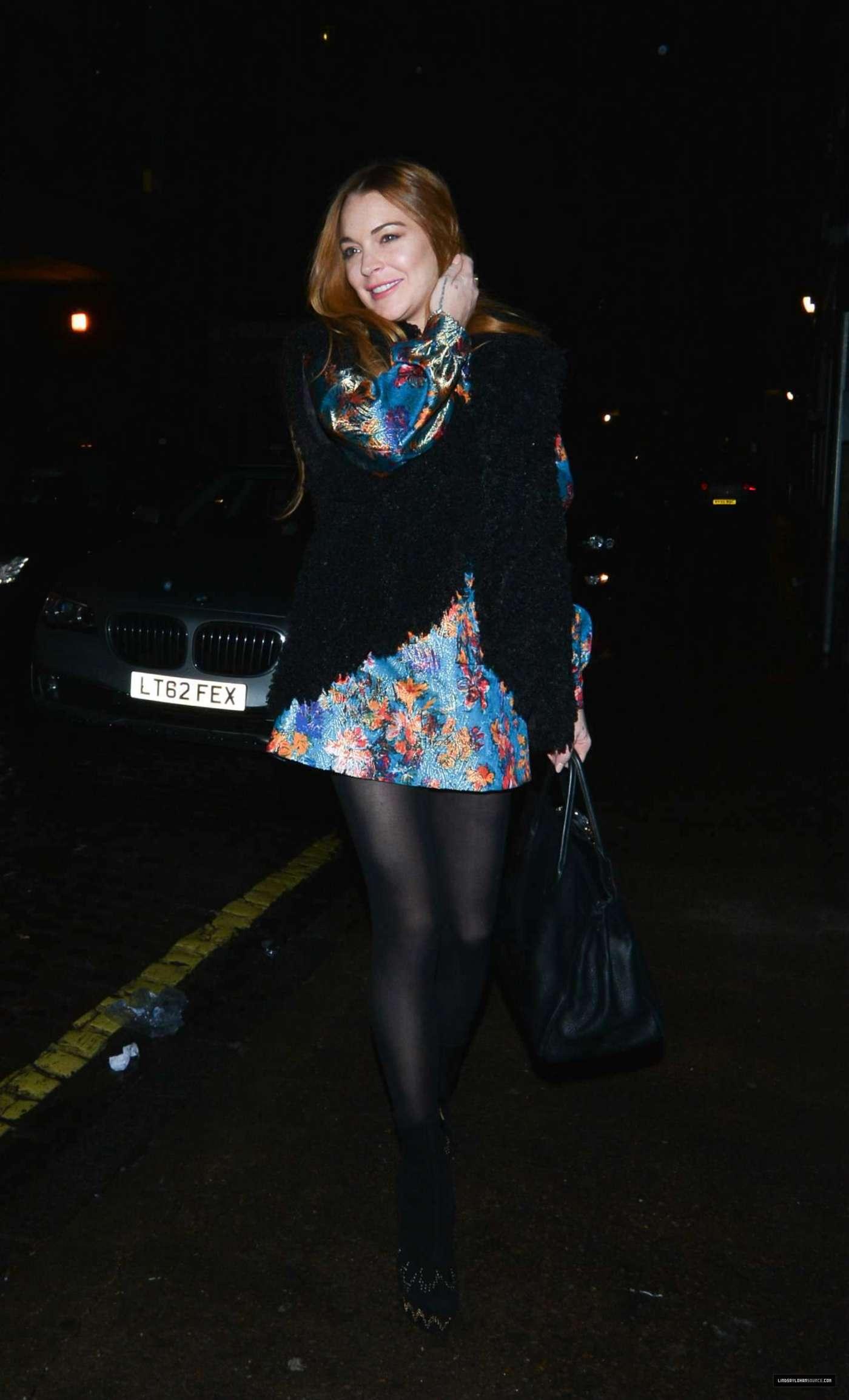Lindsay Lohan 2014 : Lindsay Lohan in Mini Dress Leaves the Chiltern Firehouse -12
