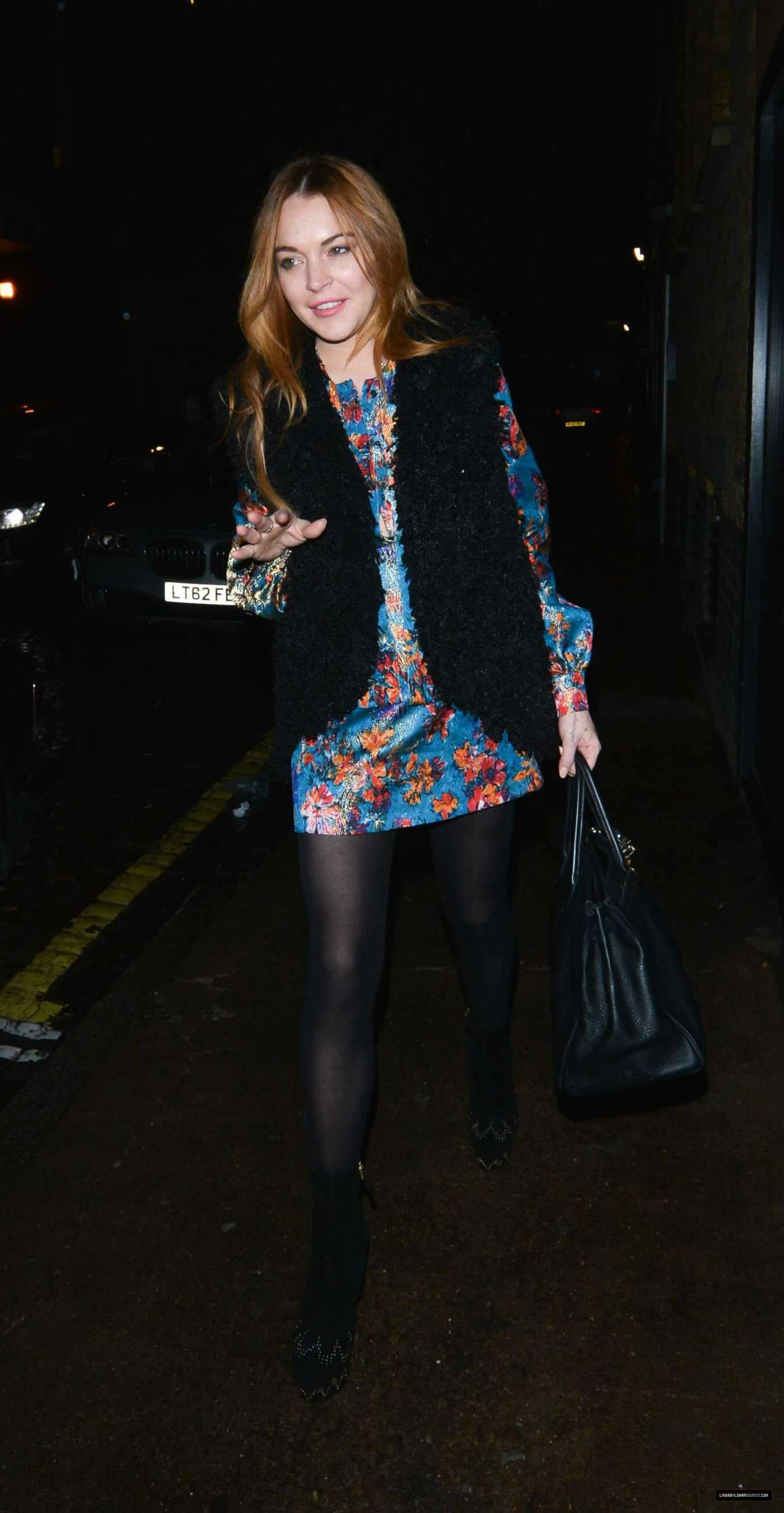 Lindsay Lohan 2014 : Lindsay Lohan in Mini Dress Leaves the Chiltern Firehouse -13