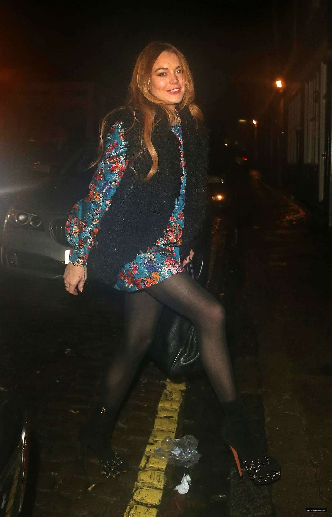 Lindsay Lohan 2014 : Lindsay Lohan in Mini Dress Leaves the Chiltern Firehouse -14