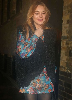 Lindsay Lohan in Mini Dress Leaves the Chiltern Firehouse after a night out in London