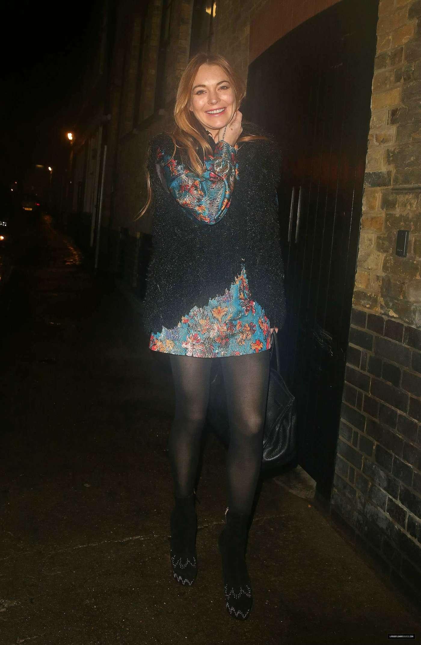 Lindsay Lohan 2014 : Lindsay Lohan in Mini Dress Leaves the Chiltern Firehouse -16