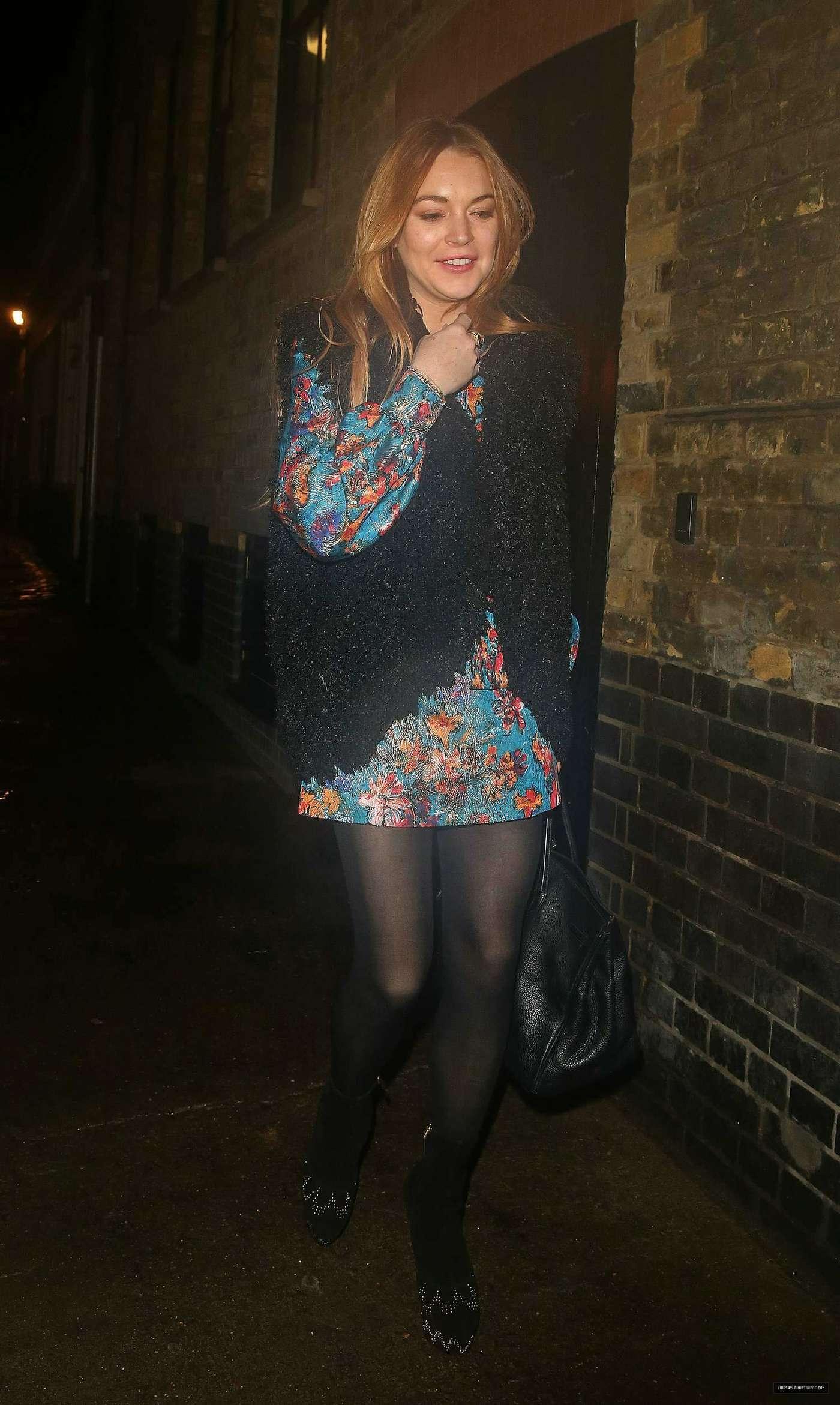 Lindsay Lohan 2014 : Lindsay Lohan in Mini Dress Leaves the Chiltern Firehouse -17