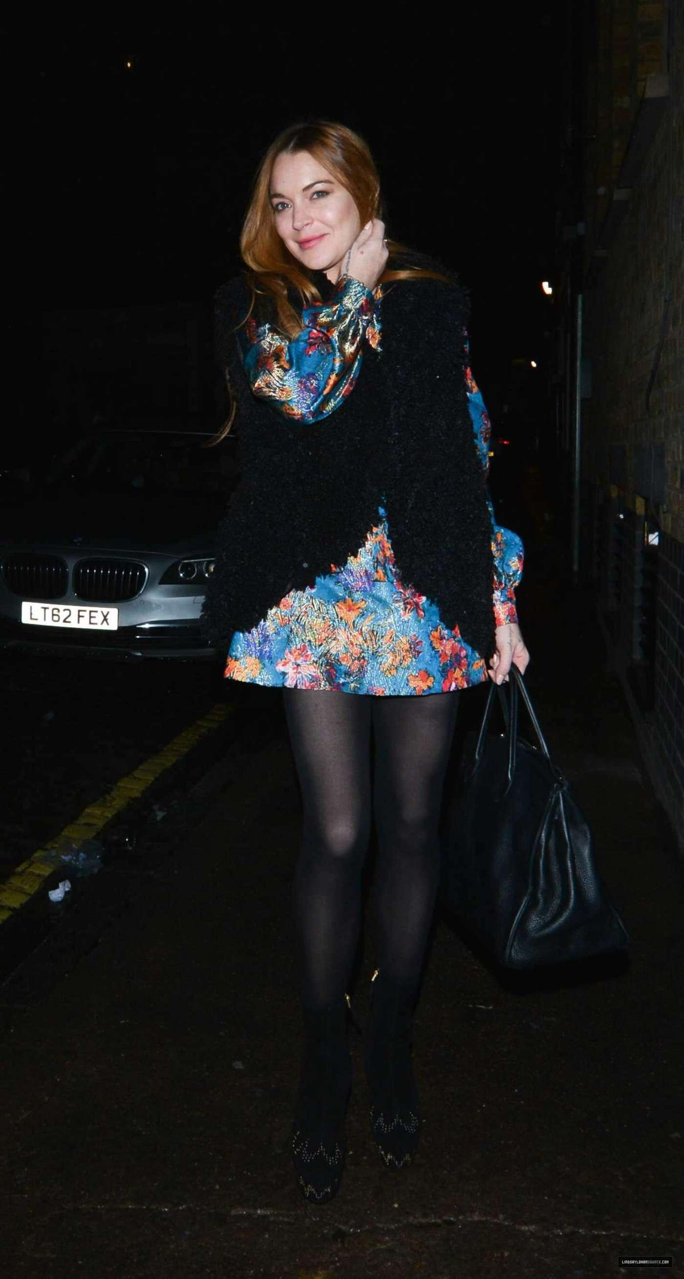 Lindsay Lohan 2014 : Lindsay Lohan in Mini Dress Leaves the Chiltern Firehouse -18