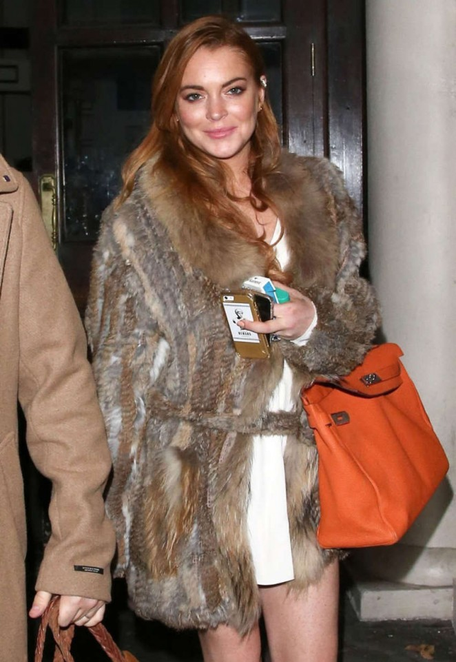 Lindsay Lohan in Mini Dress Leaving Loulou's Nightclub in London
