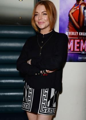 Lindsay Lohan in Mini Skirt at Memphis Press Night Arrivals in London