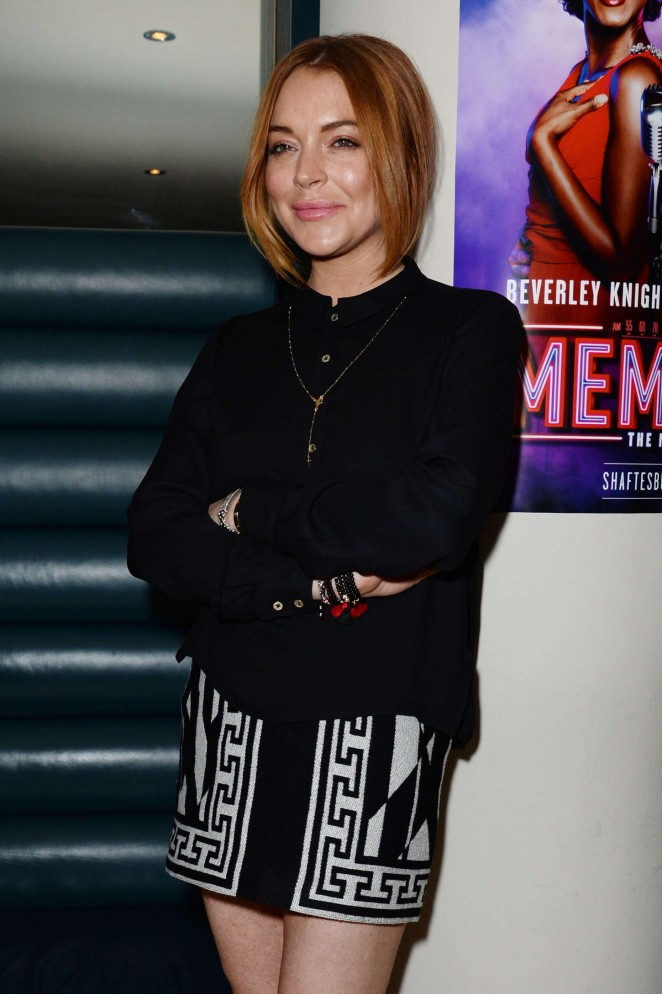 Lindsay Lohan in Mini Skirt at Memphis Press Night Arrivals in London