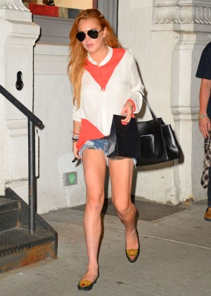 Lindsay Lohan in Jeans Shorts out in NYC