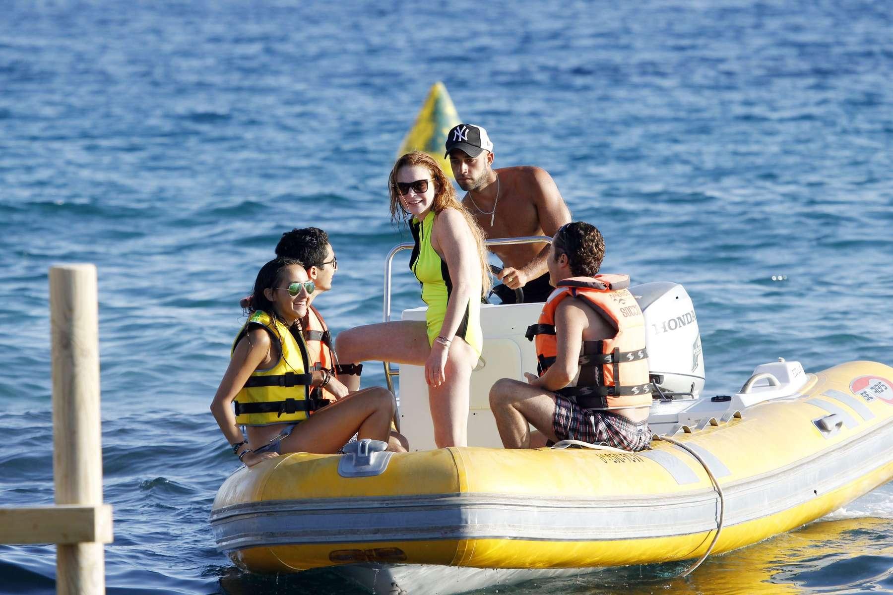 Lindsay Lohan 2014 : Lindsay Lohan In Neon Yellow Swimsuit -10
