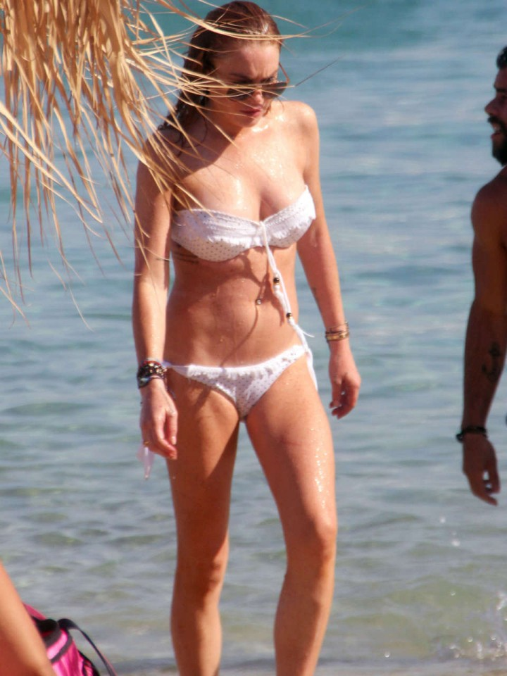 Lindsay Lohan White Bikini Candids in Greece