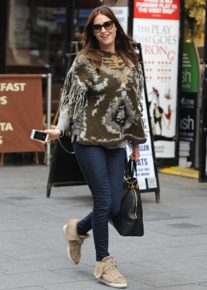 Lisa Snowdon in Jeans Leaving Capital FM in London