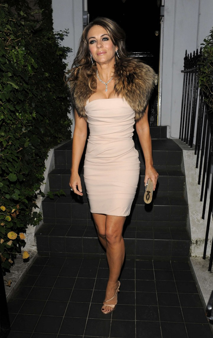 Liz Hurley - On Her Way To Woodside End Of Summer Party in London