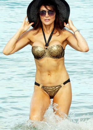 Lizzie Cundy in Bikini on the Beach in Barbados