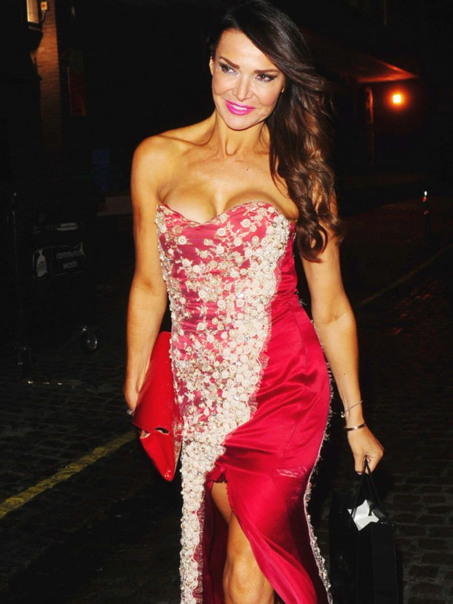 Lizzie Cundy in Red Dress Leaving The Chiltern Firehouse Restaurant in London