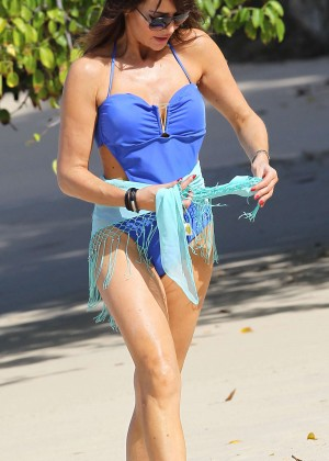 Lizzie Cundy in Blue Swimsuit -04