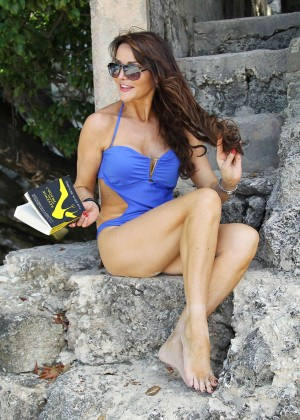 Lizzie Cundy in Blue Swimsuit -07
