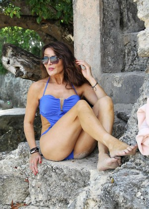 Lizzie Cundy in Blue Swimsuit -09