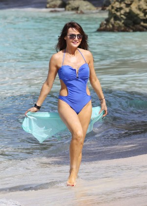 Lizzie Cundy in Blue Swimsuit -10