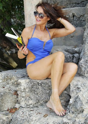 Lizzie Cundy in Blue Swimsuit -11