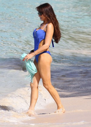 Lizzie Cundy in Blue Swimsuit -12