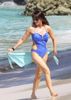 Lizzie Cundy in Blue Swimsuit -16