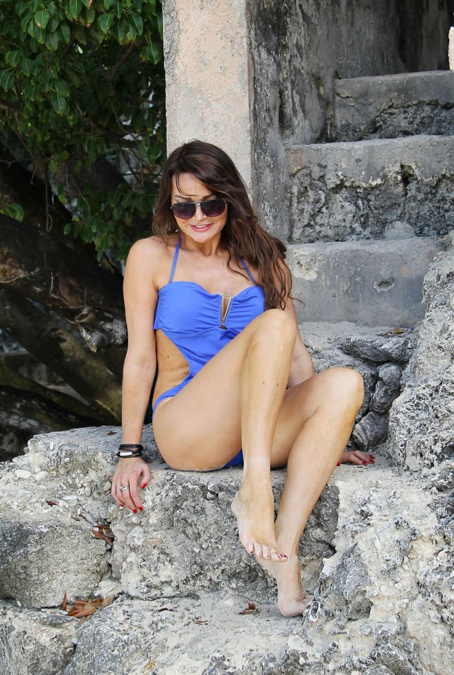 Lizzie Cundy in Blue Swimsuit in Barbados