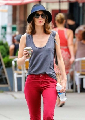 Lizzy Caplan in Red Pants out in NY