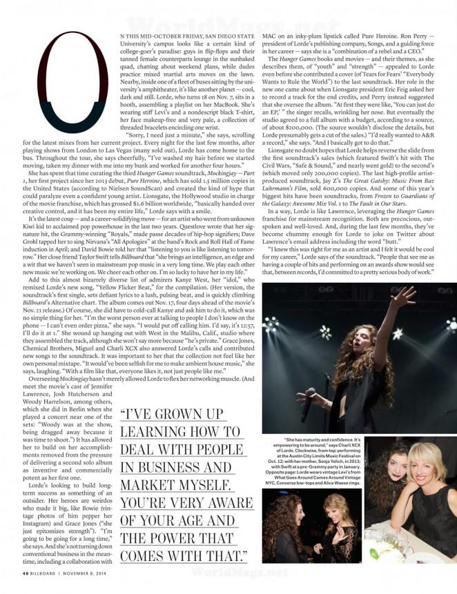Lorde: Billboard USA 2014 -01